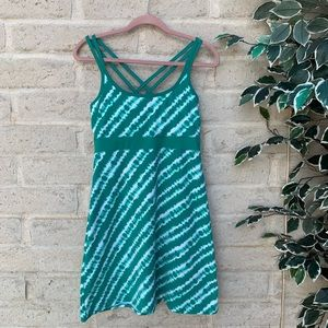 Green and white tie-dyed athletic dress.